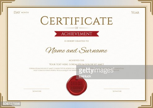 Certificate Of Achievement Template In Vector Gold And Red Theme