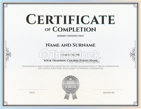 Certificate Of Completion Template In Vector Vector Art – Template Certificate of Completion