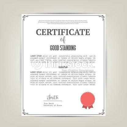 Certificate Of Good Standing Template Vector Art | Thinkstock