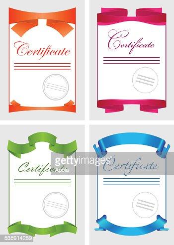 Certificado, cor conjunto de ícones de documento modelo, Ilustração vetorial : Arte vetorial