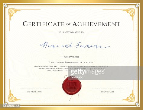 Certificate Template For Achievement With Gold Border Vector Art