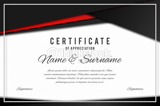 Certificate template in elegant black and red colors certificate of certificate template in elegant black and red colors certificate of appreciation award diploma design template yelopaper Image collections