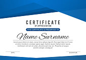 Certificate template in elegant blue color with abstract borders, frames. Certificate of appreciation, award diploma design template. Vector