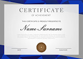 Certificate with border in blue and gray