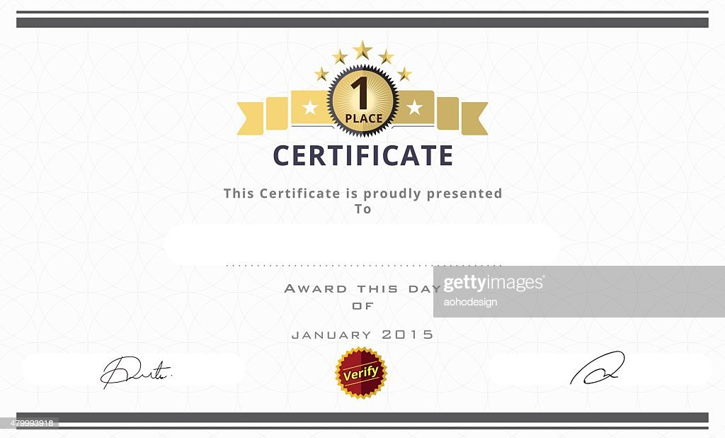 Superior Certificate Template With First Place Concept. Certificate Borde : Vector  Art Throughout First Place Certificate