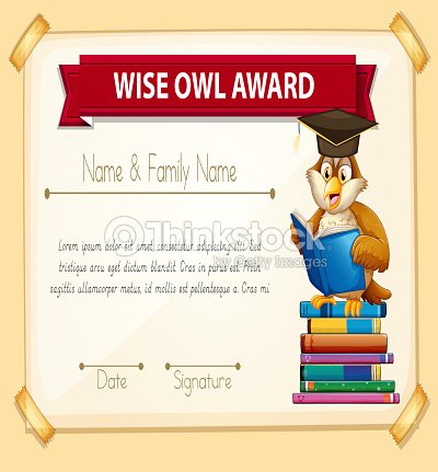 Certificate Template With Owl Reading Books Vector Art Thinkstock