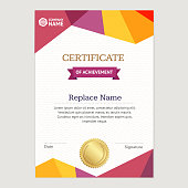 Certificate Vertical Template with Abstract Colored Polygonal Design. Vector illustration