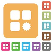 Certified component flat icons on rounded square vivid color backgrounds.