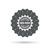 Vintage emblem medal. ISO 9001 certified sign icon. Certification star stamp. Classic flat icon. Vector