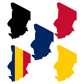 Chad map with national flag decoration
