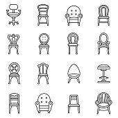 Chairs icons set. seating furniture, thin line design. assortment of different, linear symbols collection. isolated vector illustration
