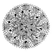 chakra mandala icon symbol logo, flower floral leaf, vector hand drawn, illustration design concept sign