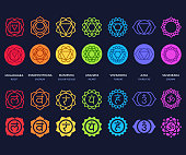 Chakra symbols set on dark background. Different styles, modern simple geometric icons and traditional sanskrit signs. Vector illustration.