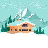 Chalet, winter landscape with mountains. Flat design vector illustration.