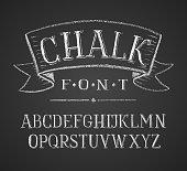 Vector illustration of chalk alphabet on blackboard.