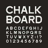 Chalk board alphabet font. Distressed vintage letters and numbers on a dark background. Vector typeface for your design.