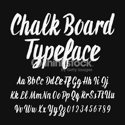 Chalk board typeface. Handwritten uppercase and lowercase letters and numbers. : stock vector