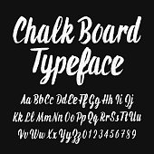 Chalk board typeface. Handwritten uppercase and lowercase letters and numbers. Stock vector alphabet font.