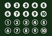 chalk drawing number icon set (from 1 to 10)
