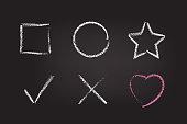 Chalk figure set on black school board. Vector chalk hand drawn design elements: square, circle, star, check mark, cross and heart.