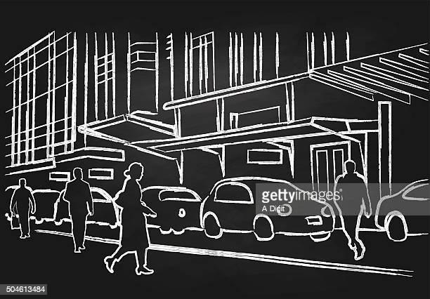 Tiza de personas caminando por la calle