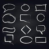 Chalk rough speech frames on blackboard background vector icons