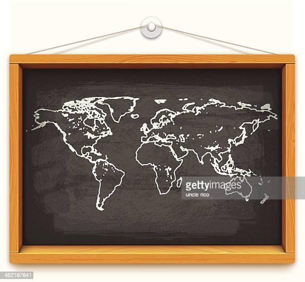 chalk world map on blackboard