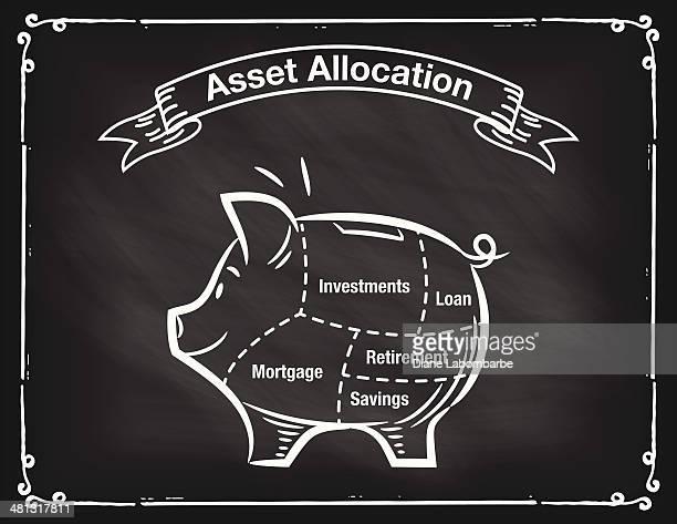 Chalkboard Asset Allocation Piggy Bank