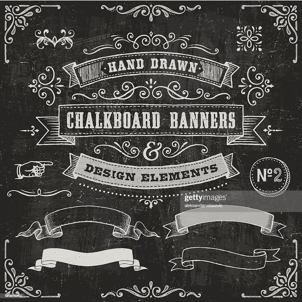 Chalkboard Banners and Design Elements : Vector Art
