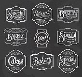 chalkboard calligraphic vector sign and label design set