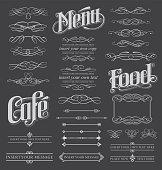 Chalkboard calligraphy menu design set. Vector illustration.