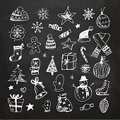 Vector Illustration.EPS10, Ai10, PDF, High-Res JPEG included. Hand- Drawn Christmas doodles on chalkboard