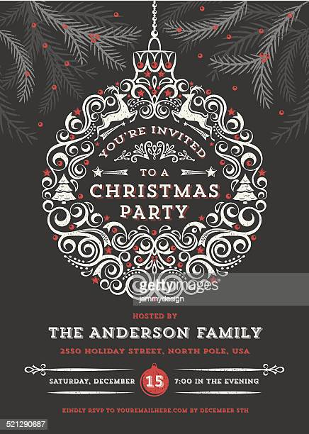 Chalkboard Christmas Ornament Party Invitation