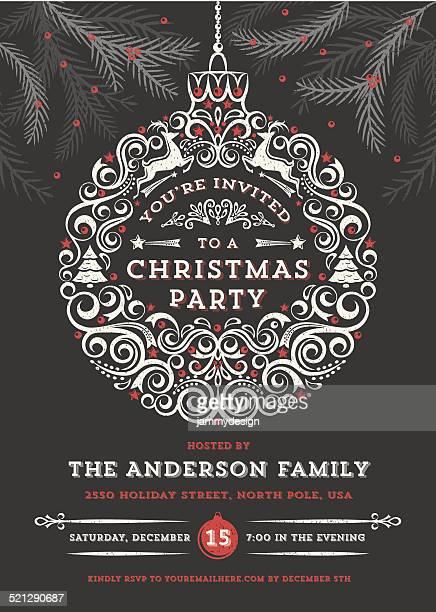 Chalkboard Boule de Noël, Invitation à la fête de