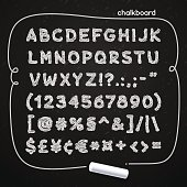 Hand drawn chalked doodle font on blackboard for your retro design. Clipping paths included.