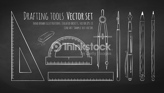Chalkboard Drawing Of Drafting Tools Vector Art