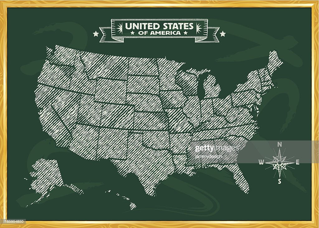 Chalkboard Map Of The United States Vector Art Getty Images - Us map chalkboard