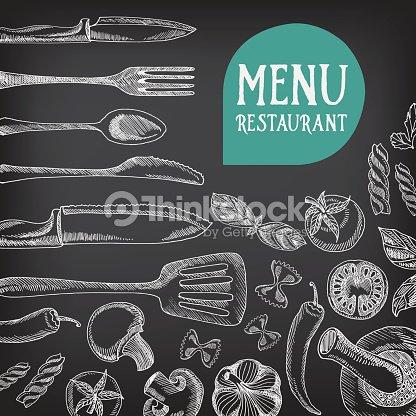 Chalkboard restaurant food menu vector art thinkstock for Artistic cuisine menu