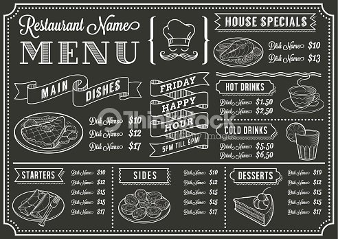 Chalkboard restaurant menu template vector art thinkstock for Artistic cuisine menu