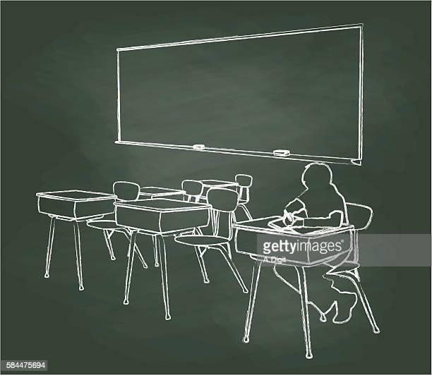 Chalkboard Student Alone In Classroom