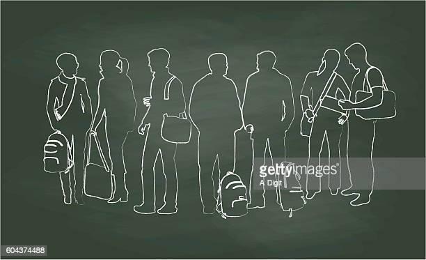 Chalkboard Student Chats Vector Illustration