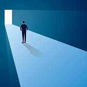 Vector illustration, businessman standing in front of future gate, thinking of risk of going forward