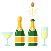 Champagne bottles and glasses cartoon icon set. Closed and opening bottle, and two flutes filled with sparkling wine. Simple flat cartoon style vector illustration.