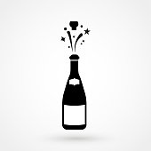 Champagne bottle explosion sign simple icon on background