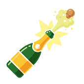 Champagne bottle opening with a pop and cork flying. Vector illustration in modern flat cartoon style isolated on white background.