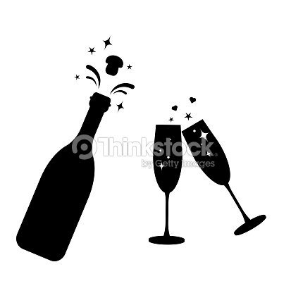 champagne bottle vector glass iconbottle and two glasses black silhouette iconstoast new yearbottle explosion corkflat cocktail silhouette glass