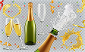 Champagne. Glasses, bottle, splash. 3d realistic vector icon set
