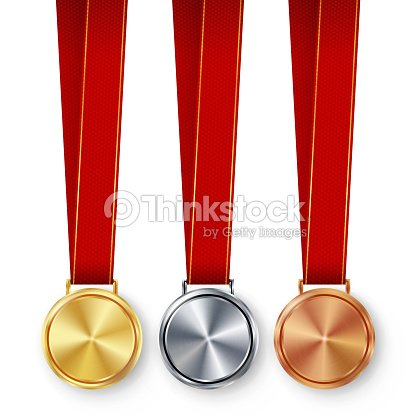 Second Third Placement Prize Clic Empty Medals Concept Red Ribbon Laurel Wreath Sport Golden Silver Bronze Achievement Template