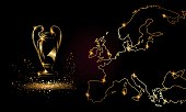 Champions Cup with a linear map. Golden Soccer trophy.