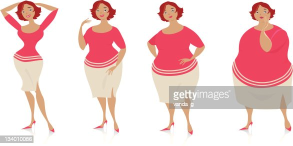 Changes of size after diet : Vector Art
